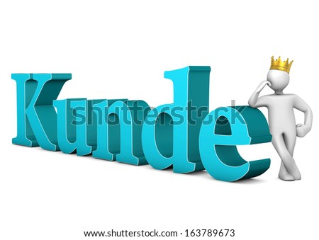 "White cartoon character with golden crown and blue german text ""Kunde"" translates to  ""customer""."