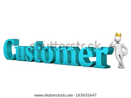 "White cartoon character with golden crown and blue text ""customer""."