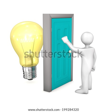 White cartoon character with green door and bulb. White background. - stock photo