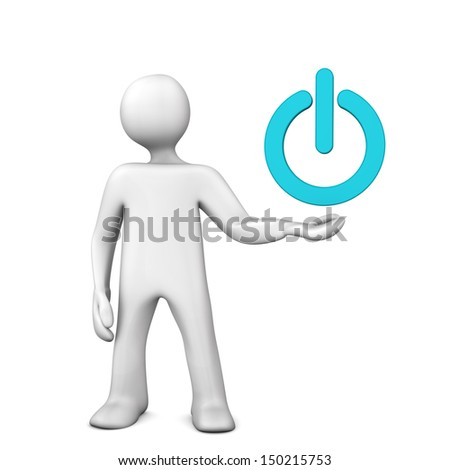 White cartoon character with green power button.