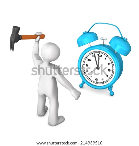 White cartoon character with hammer and blue alarmer. - stock photo