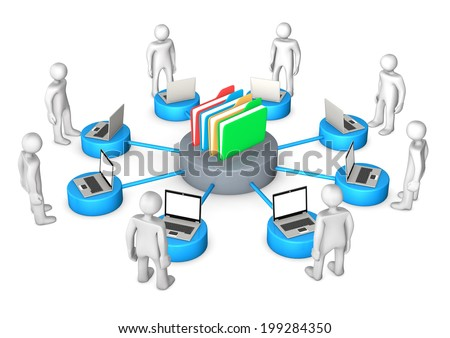 White cartoon character with laptops and online archive on the white background. - stock photo
