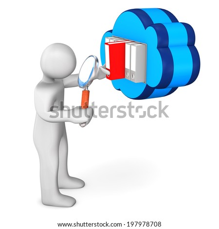 White cartoon character with loupe and blue cloud. White background. - stock photo