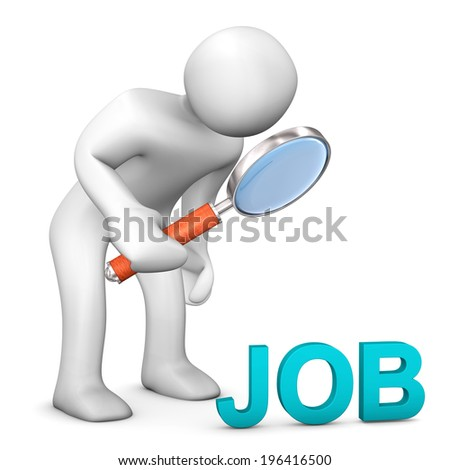 White cartoon character with loupe and cyan text JOB. - stock photo
