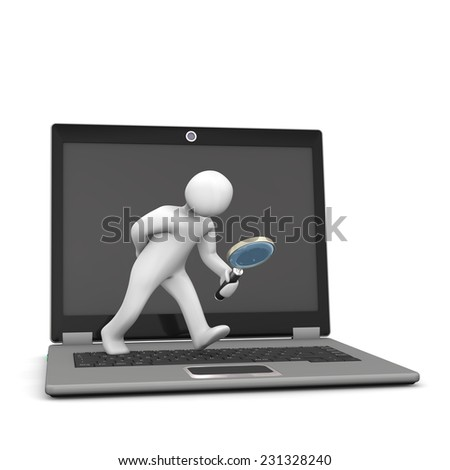 White cartoon character with loupe and notebook, on the white background. - stock photo