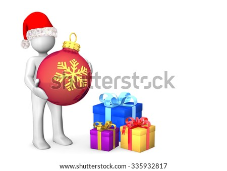 White cartoon character with red bauble and three gifts.