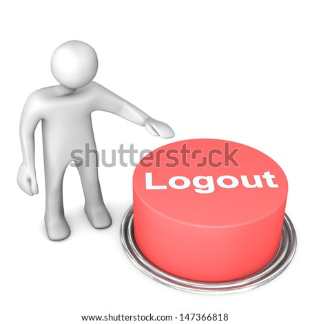 "White cartoon character with red button ""logout"". White background."