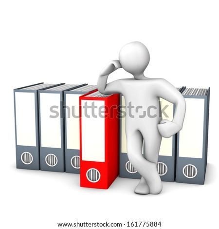 White cartoon character with right folder. White background.