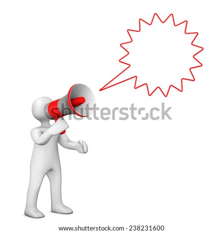 White cartoon character with speech bubble and bullhorn. - stock photo