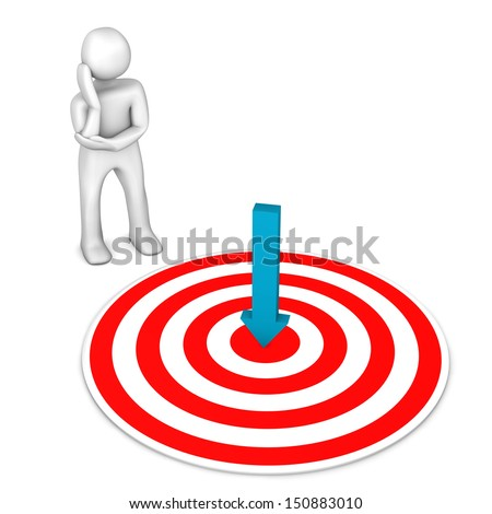 White cartoon character with target and green arrow. - stock photo