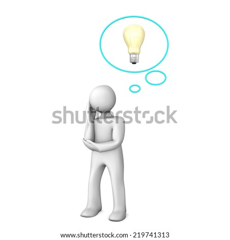 White cartoon character with thought bubble and bulb.