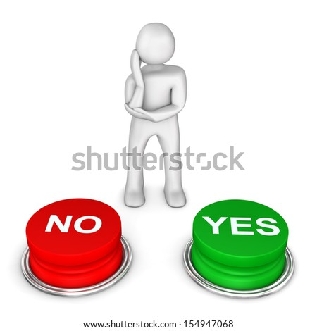 "White cartoon character with two buttons with the text ""no"" and ""yes""."
