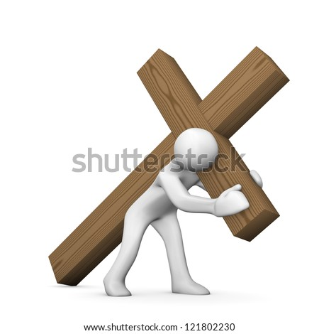 White cartoon character with wooden croos on white background. - stock photo