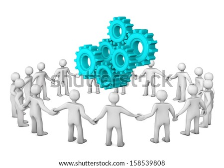 White cartoon characters in a circle with gears. White background. - stock photo