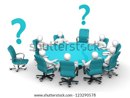 White cartoon characters on round table with cyan question marks. - stock photo