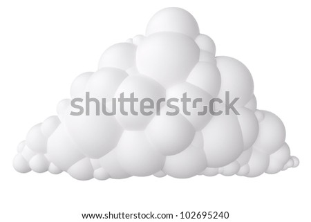 white cartoon stylized cloud   isolated on  white background (first version) - stock photo