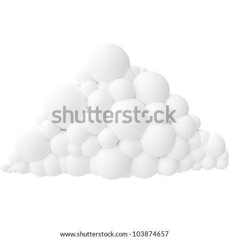 white cartoon stylized cloud isolated on white background (version 4)