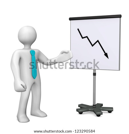 White cartoon with cyan tie and chart on white background.