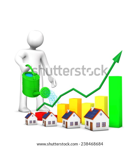 White cartoon with watering can, houses and colorful chart. - stock photo
