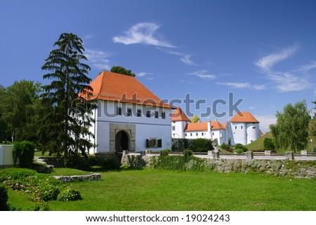 white castle with blue sky in Varazdin, Croatia - stock photo