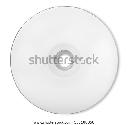 White CD-ROM isolated on white background. Clipping Path
