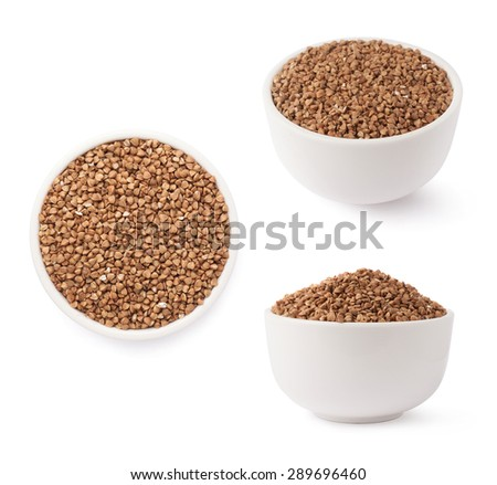 White ceramic bowl full of the buckwheat seeds isolated over the white background, set of three different foreshortenings - stock photo