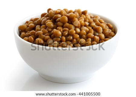 White ceramic bowl of brown cooked lentils isolated on white in perspective.