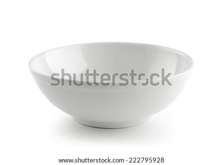 White ceramic bowl on white background - stock photo