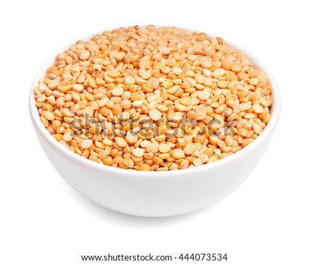 White ceramic bowl with dried peas isolated on white background - stock photo