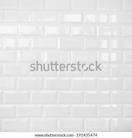 White ceramic brick tile wall,background - stock photo