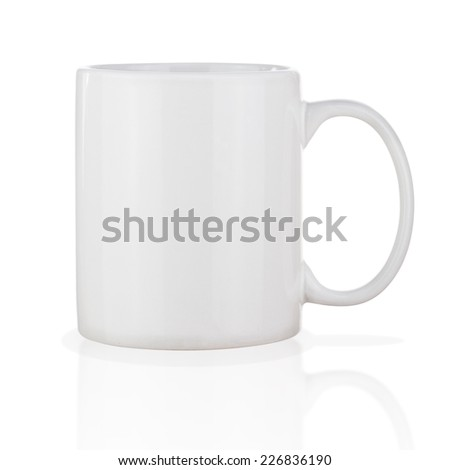 White Ceramic Coffee Cup Isolated on White Background. Side View.