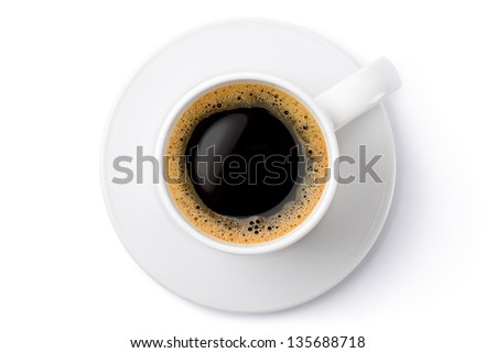 White ceramic coffee mug on the saucer. Top view. Isolated on a white. - stock photo