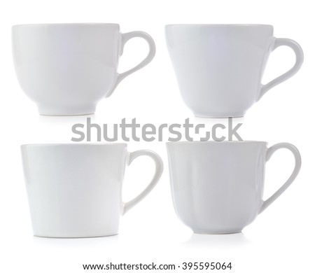 White ceramic cup isolated on white