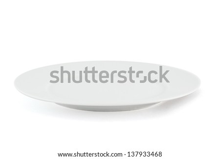 White ceramic glossy plate with a shadow isolated over white background