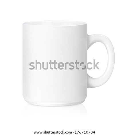 White ceramic mug   ,Isolated on a white. (with clipping work path) - stock photo