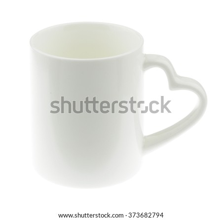 White Ceramic mug white heart shaped handles on white background - stock photo