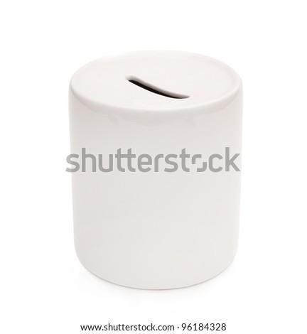 white ceramic piggy bank isolated on white background - stock photo