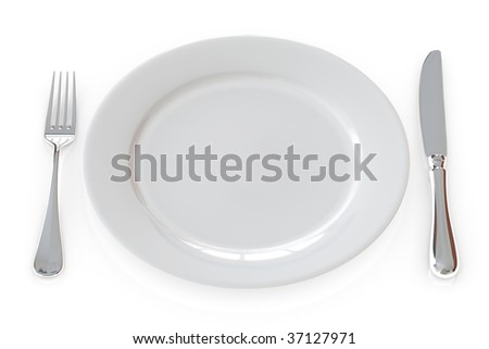 White ceramic plate and cutlery isolated over a white background.