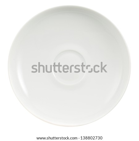 White ceramic plate isolated over white background, top view - stock photo