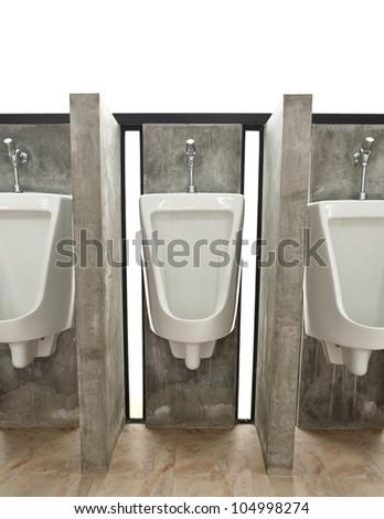 White ceramic sanitary ware in restroom - stock photo