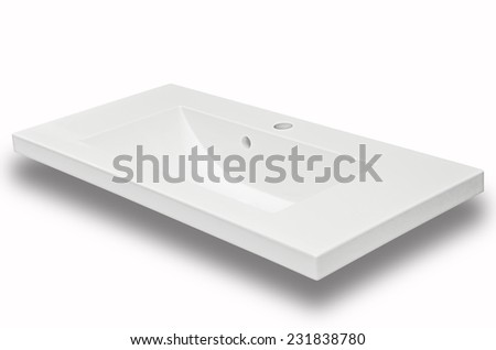 White ceramic sink isolated on a white background - stock photo