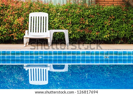 White chair and swimming pool, front view