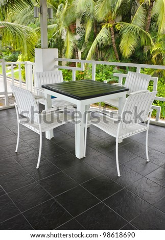 White chair and table on terrace