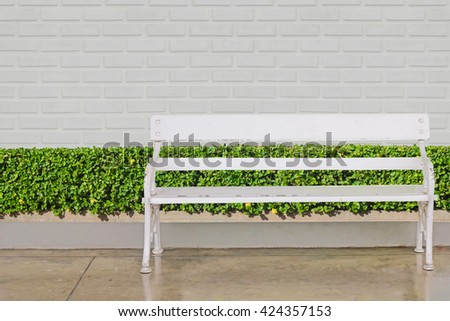 white chair  at green bush fence and concrete floor on brick wall background