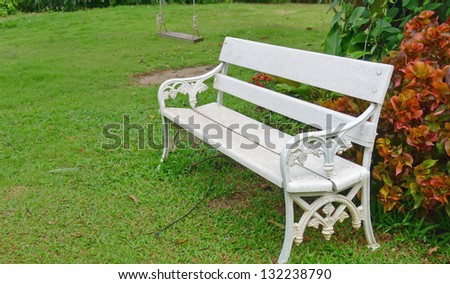 White chair in a garden