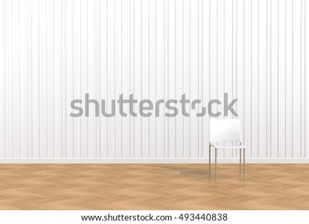 White chair in a white room, 3D rendering