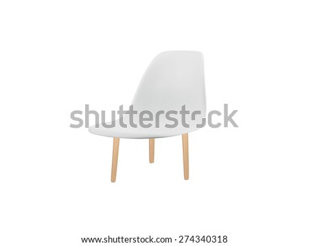 white chair isolated on white - stock photo