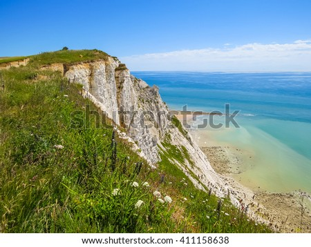 White chalk cliffs near Eastbourne, East Sussex, England - stock photo