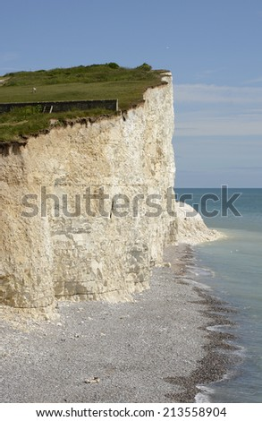 White Chalk Cliffs the Seven Sisters at Birling Gap near Eastbourne in East Sussex. England - stock photo