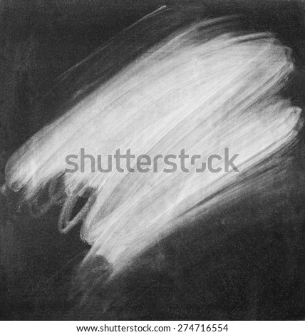 White Chalk Erased on a Black Chalkboard. Vintage background. Monochrome  - stock photo